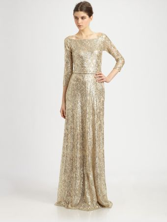 David Meister Metallic Lace Gown - Lyst