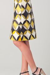 Derek Lam Peg Skirt With Leather Trim in Yellow (black) - Lyst