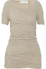 Donna Karan New York Ruched Cotton Top - Lyst