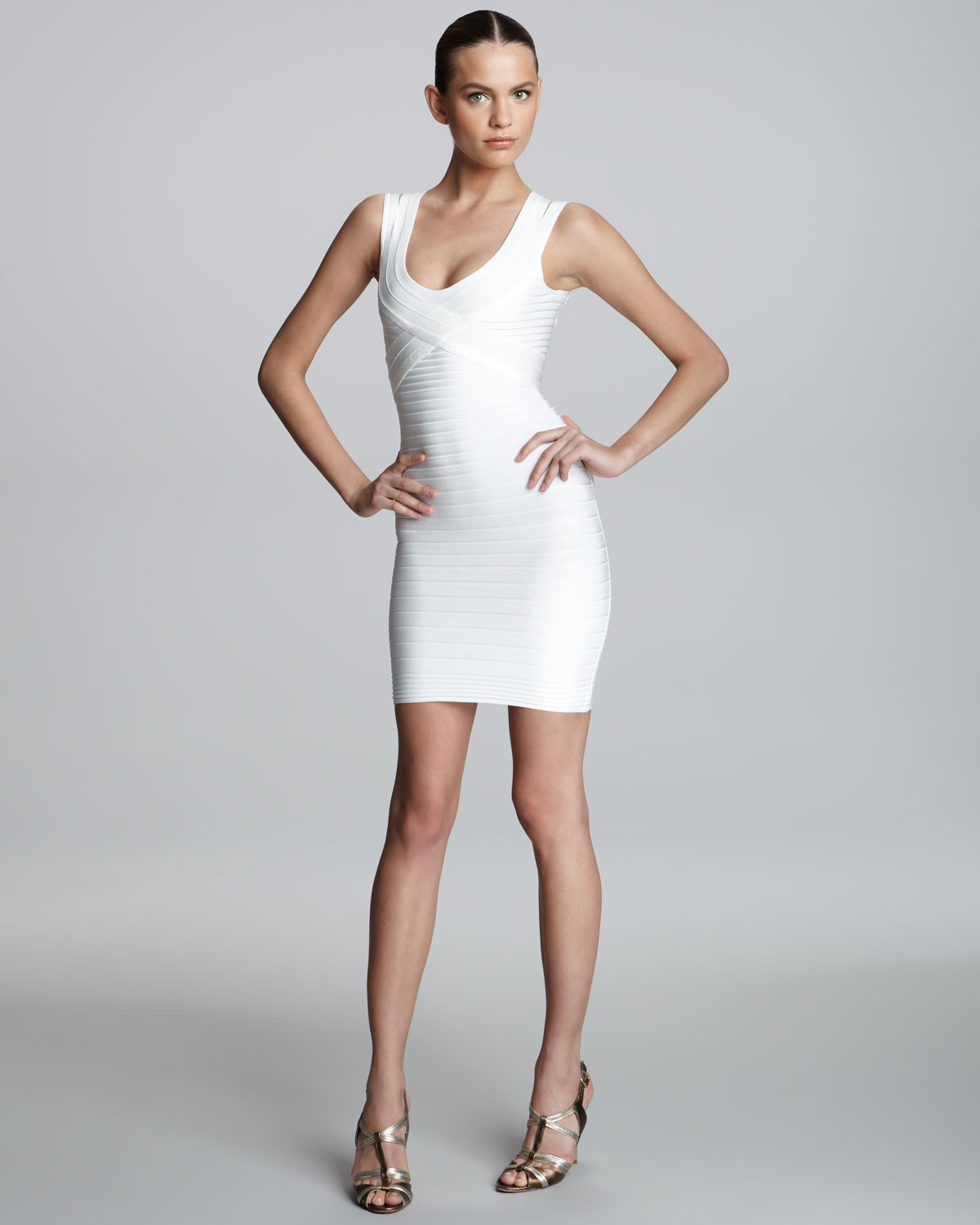 6268c5a1394b Lyst Hervé Léger Crisscross Scoop Neck Bandage Dress In White