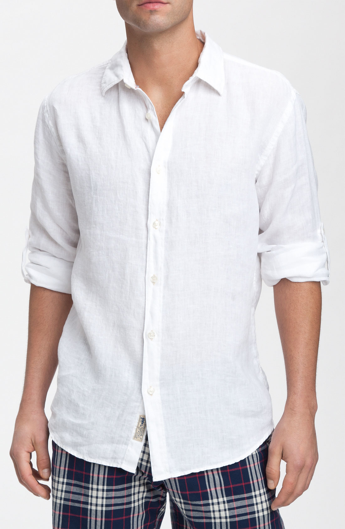 just a cheap shirt long sleeve linen shirt in white for