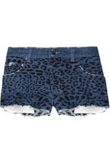 Ksubi Alberceque Leopard-print Cut-off Denim Shorts - Lyst