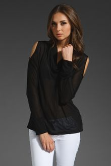 Lanston Tissue Jersey Cut Out Shoulder Cowl Neck Top - Lyst