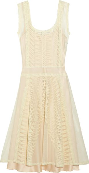 Philosophy Di Alberta Ferretti Lace and Cotton-tulle Dress in Beige (cream) - Lyst