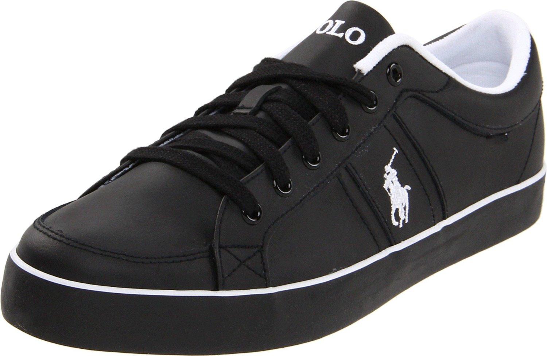 polo ralph lauren mens bolingbrook sneaker in black for men black leather lyst. Black Bedroom Furniture Sets. Home Design Ideas