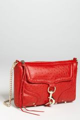 Rebecca Minkoff Mac Ostrich Embossed Clutch in Red - Lyst