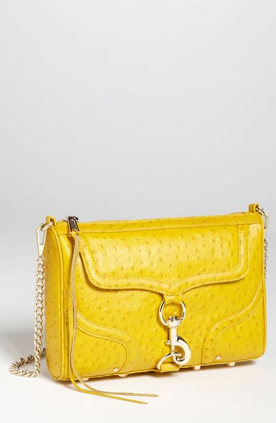 Rebecca Minkoff Mac Ostrich Embossed Clutch in Yellow - Lyst