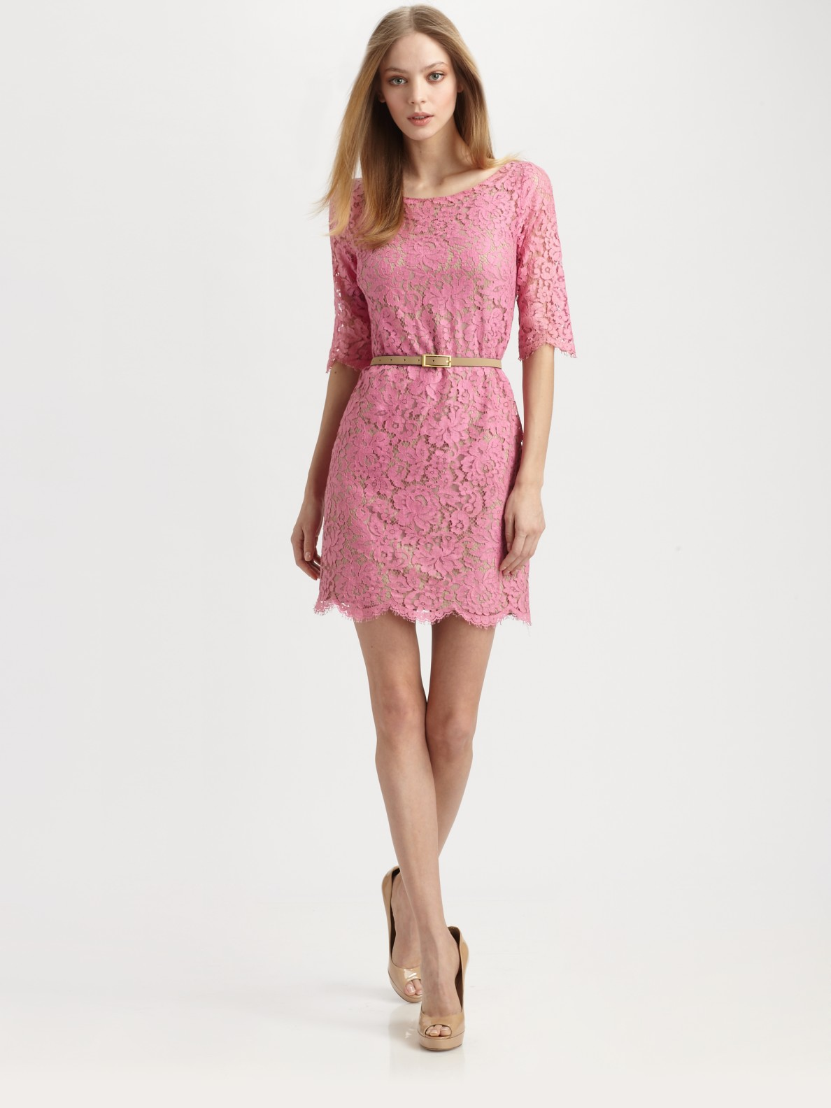 Lyst - Robert rodriguez Belted Lace Dress in Pink
