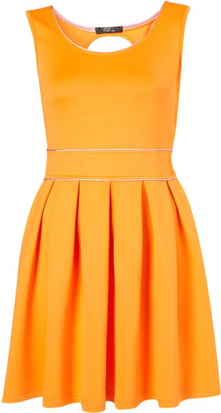 topshop pleated keyhole back dress by in yellow