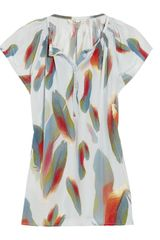 Tucker Henley Printed Silk-crepe Top - Lyst