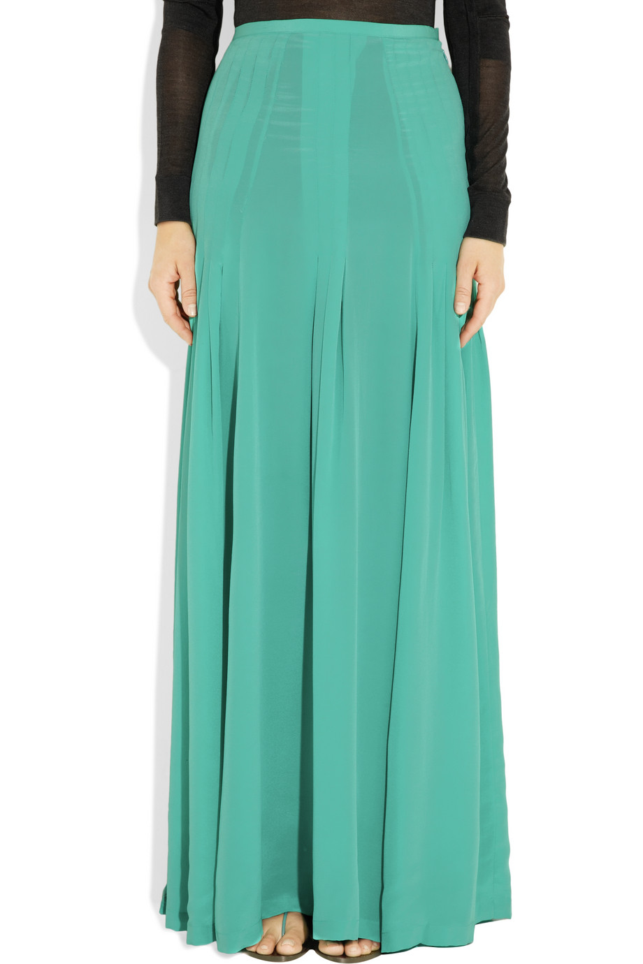 antik batik pleated silk crepe maxi skirt in green