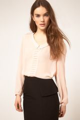 ASOS Collection  Blouse with Drop Collar and Pintuck Shoulders - Lyst