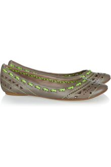 Belle By Sigerson Morrison Laser-cut Leather Ballet Flats - Lyst