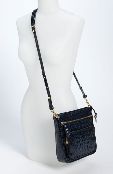 Brahmin Cleo Lacquer Crossbody Bag in Blue (lacquer navy)