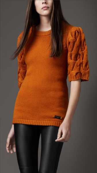 Burberry Cable Knit Sleeve Sweater - Lyst