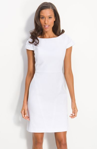 Calvin Klein Cap Sleeve Cotton Jacquard Dress in White - Lyst