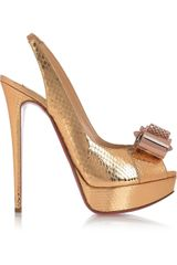 Christian Louboutin Metal Nodo 150 Watersnake Slingbacks in Brown (gold) - Lyst