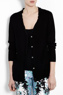 DKNY Long Sleeve Cashmere Cardigan with Silk Back - Lyst