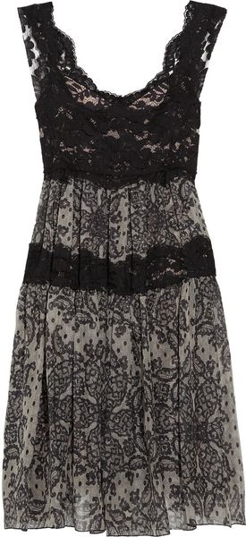 Dolce & Gabbana Sicilia Lace and Printed Silk-blend Dress - Lyst