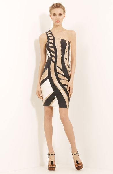 Donna Karan New York Collection Serpent Print One Shoulder Dress in Multicolor (bone) - Lyst