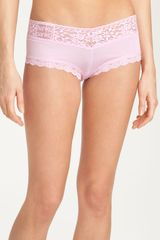 Hanky Panky Lace Trim Knit Boyshorts in Pink (cotton candy) - Lyst