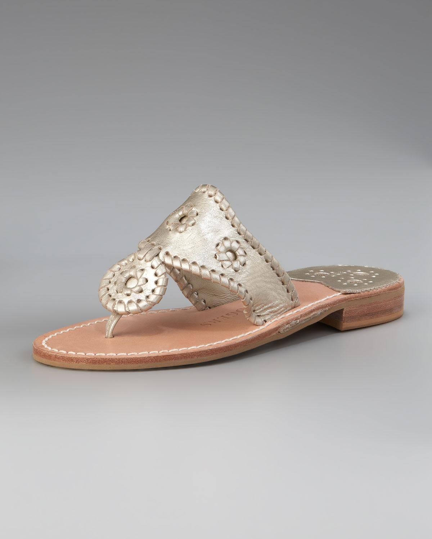 64bcfb2a3a5513 Lyst - Jack Rogers Hamptons Flat Thong Sandal in Metallic