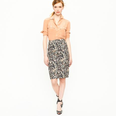 j crew no 2 pencil skirt in feather paisley in blue navy
