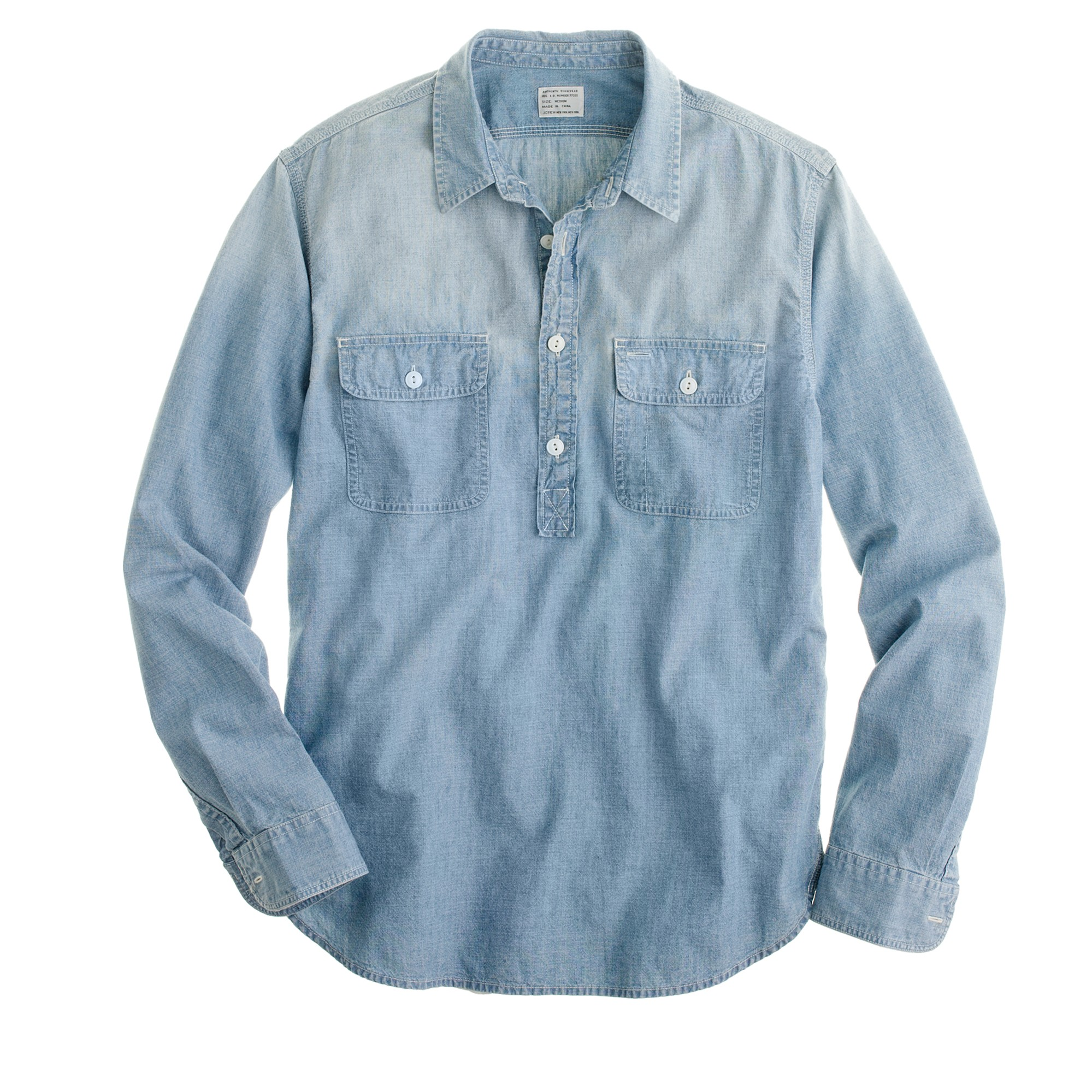 J.crew Half-placket Chambray Shirt in Blue for Men