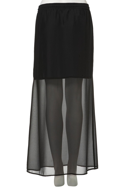 topshop sheer hem maxi skirt in black lyst