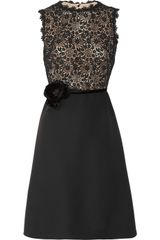 Valentino SilkCrepe and Lace Dress in Black - Lyst