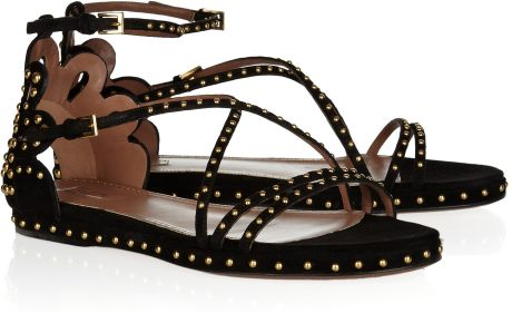 Alaïa Studded Suede Sandals in Brown (black) - Lyst