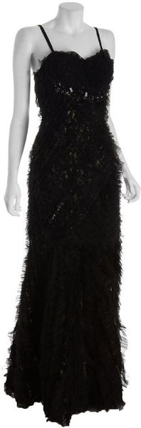 Alberto Makali Black Feathered Tulle with Beading Strapless Gown in Black - Lyst
