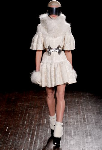 Alexander McQueen Fall 2012 White Fur Mini Dress with Trumpet Sleeves and Mongolian Fur Collar - Lyst