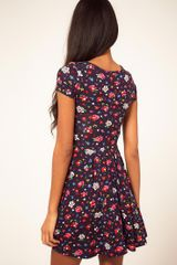 Asos Collection Asos Skater Dress in Ditsy Floral in Blue (navyprint) - Lyst