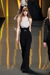 Elie Saab Fall 2012 Sleeveless Drape-Front Evening Gown