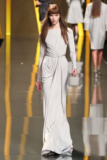 Elie Saab Fall 2012 Drape-Front Split Hem Evening Gown  - Lyst