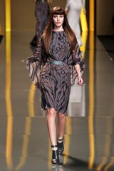 Elie Saab Fall 2012 Bronze Tree Branch Print Cape Dress in Brown - Lyst