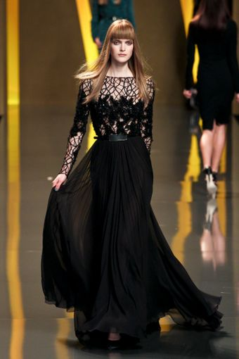 Elie Saab Fall 2012 Sheer Floral/Branch Inset Evening Gown - Lyst