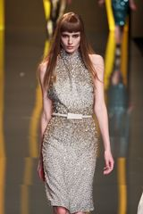 Elie Saab Fall 2012 Turtleneck Jewel Encrusted Evening Dress in Beige - Lyst