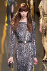 Elie Saab Fall 2012 Sheer Sequin Encrusted Evening Gown  in Silver - Lyst