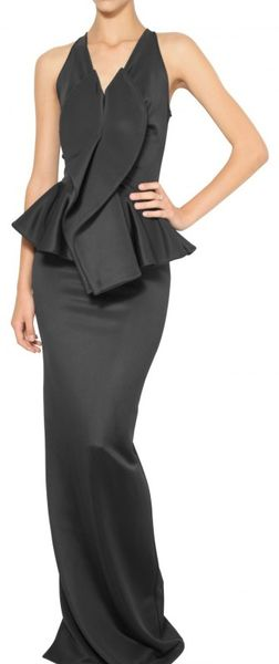 Givenchy Shiny Stretch Jersey Peplum Long Dress in Black - Lyst