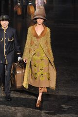 Louis Vuitton Fall 2012 Floral Appliqué Midi Dress in Beige - Lyst