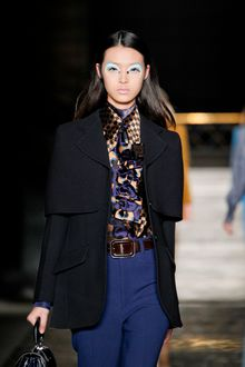 Miu Miu Fall 2012 Blue and Orange Printed Ascot - Lyst
