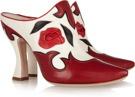 Miu Miu Western Leather Mules in Red - Lyst