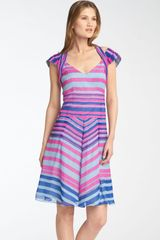 Nanette Lepore Talent Show Striped Halter Harness Dress - Lyst