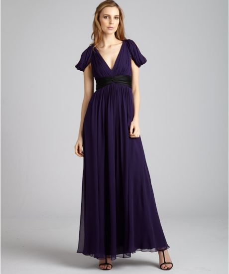 Notte By Marchesa Violet Silk Chiffon Vneck Drape Gown in Purple (violet) - Lyst