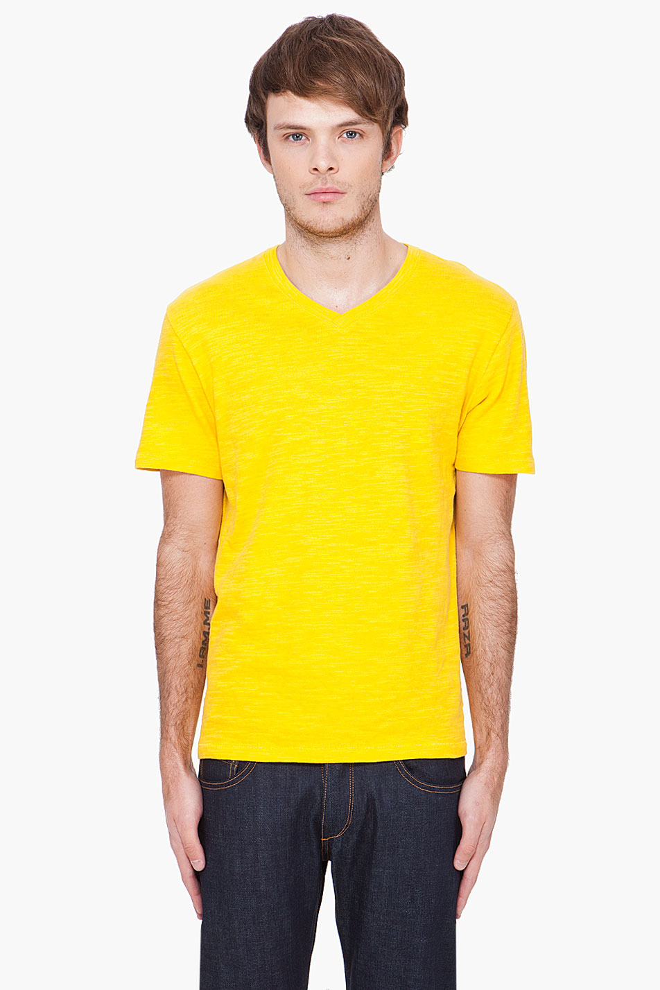 Rag bone yellow v neck t shirt in yellow for men lyst for Rag and bone t shirts