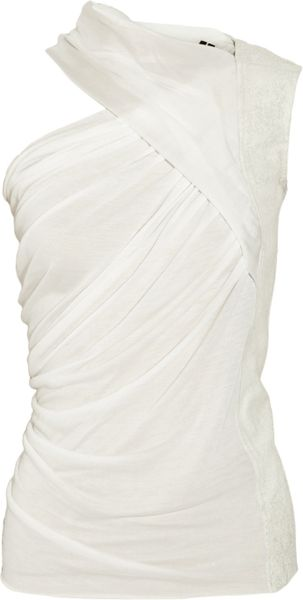 Rick Owens Draped Jersey, Chiffon and Leather Top in White - Lyst