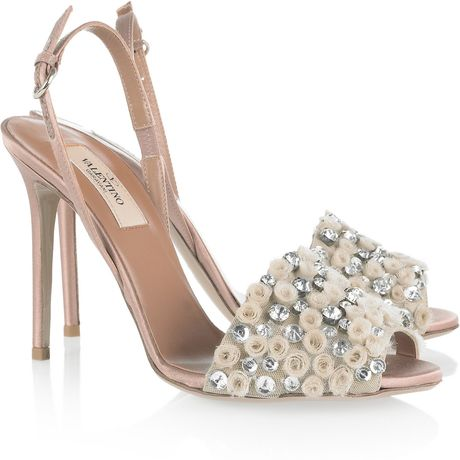 Valentino CrystalEmbellished Satin Sandals in Pink (rose) - Lyst