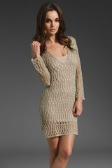 Velvet Daliah Crochet Stitch Dress in Beige (flax) - Lyst
